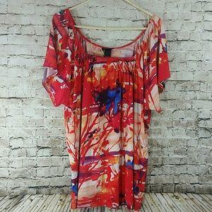 Lane Bryant 22/24W or 2x red orange top nwot